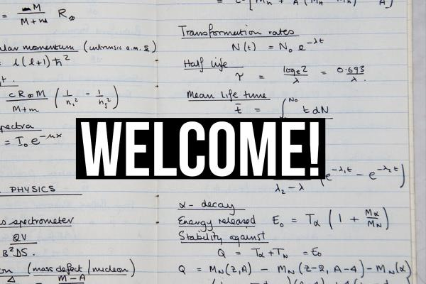 Picture of lab notebook with Welcome written across it